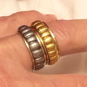18k gold over sterling silver set  spinning rings